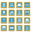 furniture icons azure vector image