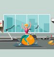 girl on ball engaged in fitness vector image vector image