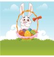 Greeting card bunny with easter eggs vector | Price: 1 Credit (USD $1)