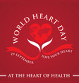 greeting card world heart day celebration vector image vector image