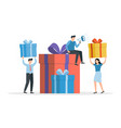 happy people with gifts huge pile gift boxes vector image