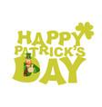 happy stpatrick s day emblem lettering leprechaun vector image