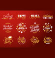 joy and happy holidays merry christmas lettering vector image vector image