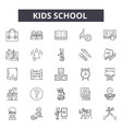 kids school line icons signs set outline vector image vector image