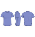 lilac t-shirt template in front back and side vector image vector image