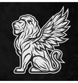 Lion statue a dark background vector image vector image