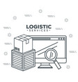 logistic services with computer vector image