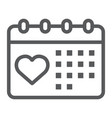 love calendar line icon valentine and holiday vector image vector image