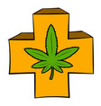 marijuana leaf on a red cross icon cartoon vector image vector image