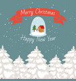 merry christmas snowy forest and happy new year vector image