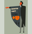 monster party october celebrating halloween vector image vector image