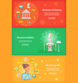 museum banner set template cartoon style vector image vector image