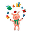 new year pig and gifts vector image vector image