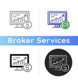 online stock trading icon vector image vector image