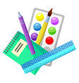 school supplies paintbrush and palette ruler set vector image vector image