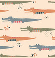 seamless pattern with cute funny crocodiles vector image