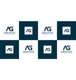 set initials letter ag abstract logo vector image vector image
