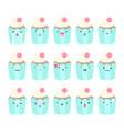 set of cupcake emoji vector image vector image