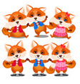 set of happy and sad animated foxes isolated on a vector image vector image