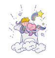 sleeping boy riding unicorn with heart vector image vector image