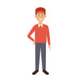 smiling man in casual clothes with arms waist vector image vector image