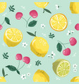 summer seamless pattern with lemons cherry and vector image