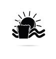 sun icon with beach basket black vector image vector image
