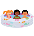 Three children of friends in an inflatable pool vector image vector image