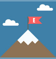 top of the mountain with red flag business vector image vector image