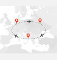 travel route in eastern and northern europe vector image vector image