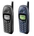 Two old cell phones with monochrome displays vector image