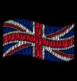 waving great britain flag collage of sock icons vector image