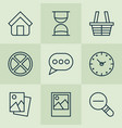 web icons set with sand timer messaging trading vector image vector image
