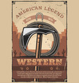 western wild west indian tomohawk and rope vector image vector image