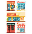 fast food restaurant and boutiques set vector image