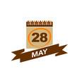 28 may calendar with ribbon vector image vector image