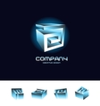 Abstract 3d cube logo design icon set blue vector image vector image