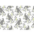 bird on branch seamless pattern vector image vector image