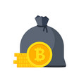 bitcoin bag with money stacks coins vector image