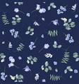 Blue flowers on dark bg floral pattern