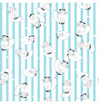 cartoon cats on stripes background vector image vector image