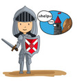 cartoon knight going to rescue princess from the vector image vector image
