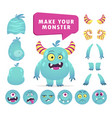 cartoon monster creation kit cute face set vector image