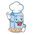 chef almond milk isolated in the mascot vector image