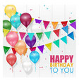 Color balloons happy birthday on white background