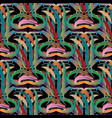 colorful floral greek key damask seamless patter vector image vector image