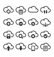 computer cloud icons set on white background vector image vector image