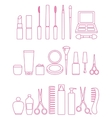 cosmetics line icon set vector image vector image