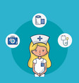 cute nurse woman cartoon vector image