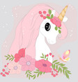 cute pastel unicorn cartoon in pastel colorful vector image vector image
